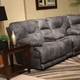 Catnapper Voyager Lay Flat Reclining Console Loveseat in Slate with Storage and Power Option