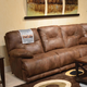 Catnapper Voyager Lay Flat Reclining Sofa in Elk with Table and Power Option