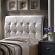 Hillsdale Furniture Lusso White Faux Leather Headboard with Bed Frame Full Size