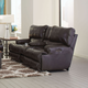 Catnapper Wembley Leather Power Lay Flat Reclining Console Loveseat with Power Recline and Power Headrest in Steel