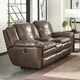 Catnapper Aria Leather Lay Flat Reclining Console Loveseat in Smoke