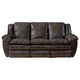Catnapper Aria Leather Lay Flat Reclining Sofa in Chocolate