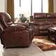 Catnapper Patton Leather Power Lay Flat Recliner in Walnut