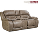 HomeStretch Enterprise Power Loveseat with Power Headrest and Power Lumbar Foot Extension in Mushroom