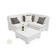 Ledge Lounger Signature Collection Sectional | 4 Piece Diamond White Base | Oyster Standard Fabric Cushion | LL-SG-S-4PD-SET-W-STD-4642