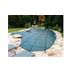 Merlin Classic Mesh 15-Year Mesh Safety Cover   Rectangle 16' x 32'   1' or 2' Offset 4' x 8' Left Side Step   Green   19M-E-GR
