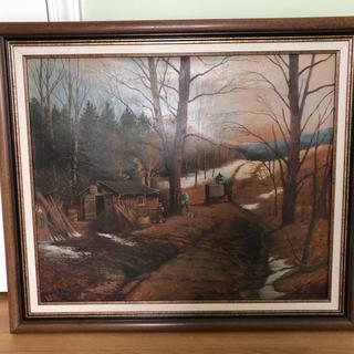 Very beautiful walnut frame enhanced canvas painted by my husbands uncle