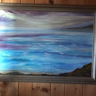 The Migration, original oil painting by KFox.  This Lake Superior painting in this frame is lovely.