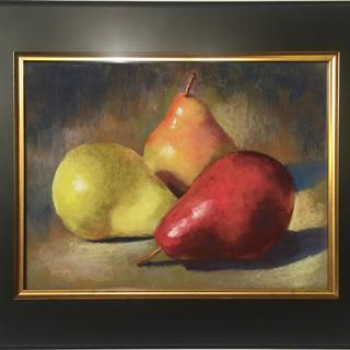 """Pear Trio"", original pastel painting by Pamela Hamilton"