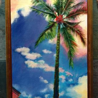 Palm Dreams with Gold Floater Frame (overhead light on)