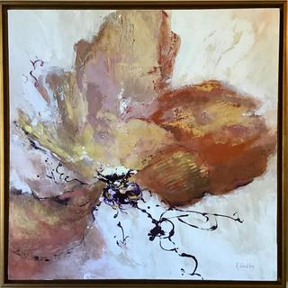 """""""Unfolding"""", 30""""x30"""" acrylic and metallic painting.  The  Gold Leaf Frame transformed the artwork!"""