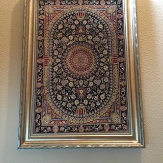 23x35 silk carpet framed in Vn7