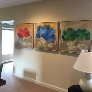my three painting framed with the natural maple canvas floater frames