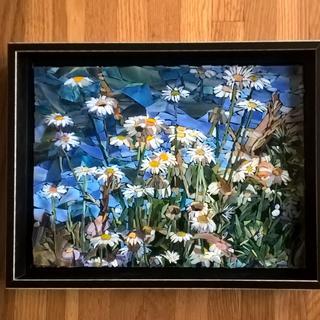 PNW Wild Daisies -glass mosaic 10x13