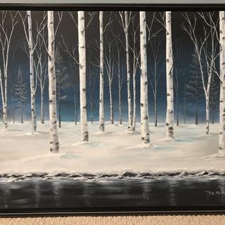 "28"" x 22"" canvas with black floater frame"