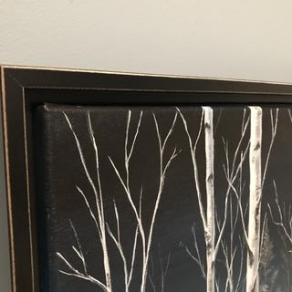 Closeup of canvas in frame