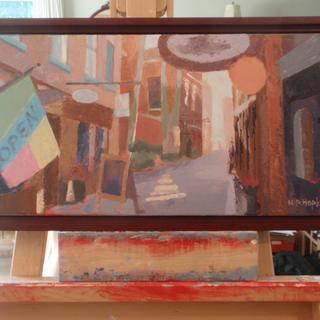 """Commercial Alley"" . oil . 12"" x 22"" . Cherry Wood Frame Madeleine Hopkins"