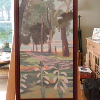 """Prescott Park"" . 22""x12"" . Cherry Wood Frame Madeleine Hopkins"