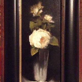 Roses In Silver 10 X 4 Oil on Linen