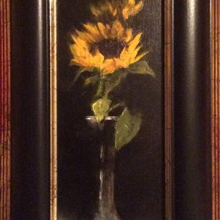 Sunflowers In Silver 10 X 4 Oil on Linen