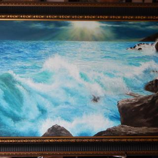 "Stormy Waves On A Rocky Coast - Oil On Canvas - 24""x 40"" - Framed in the RR10 frame!"