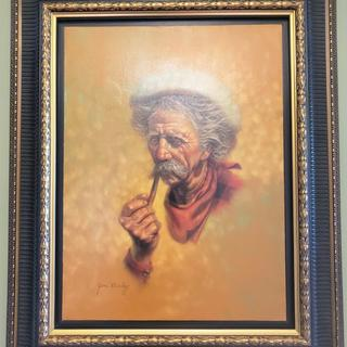 "Original by Jim Daly: ""Prospector"". 18x25 Stretched Canvas in floater frame RRF10."