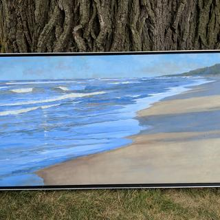 "The painting, ""Evening Walk"" is well set off by this simple and elegant frame. Acrylic, 18"" x 36""."