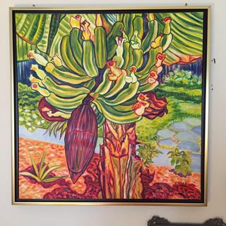 'Los Plantanos' oil on canvas beautifully complemented by floating canvas frame