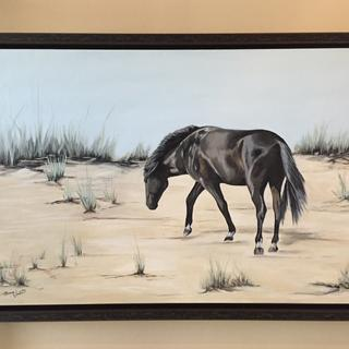 """The Intepid Coastal Pony"" 24x36 original acrylic painting by Diana Vincent. Love the frame!"