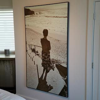 "66"" high canvas print of a picture I took of my wife beautifully framed now."
