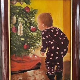 """ Wonderment, the Christmas Baby"" oil on canvas by Laura D. Jones"