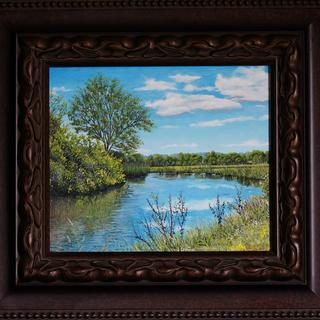 12x14 Oil on panel by Robert Whistler. This is a beautiful frame, I'm very pleased with it.