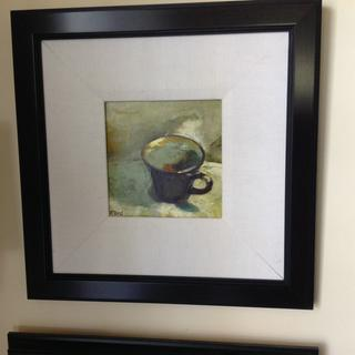 Frame is perfect with the white linen liner to accentuate this small painting, love it.