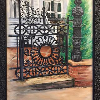 "This painting is ""The Bellamy Gate"" in Wilmington, NC An 18x24 acrylic from my own photo"