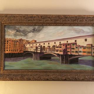 Painting our trip to Florence and Tuscany.  Love the frame.