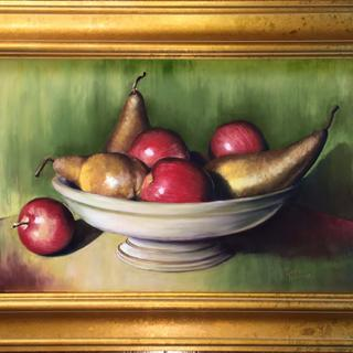 """Bosc Pears and Apples"" original pastel painting by Pamela Hamilton"
