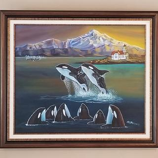 Lisa Allison Bloom original Tokitae (captured 1970) with Mom & other captured Orcas.