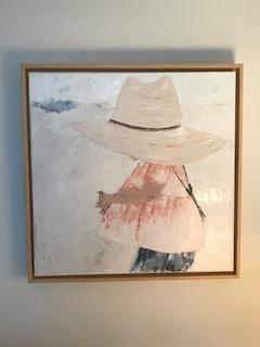 The painting I did of my granddaughter at the beach wearing her mama's hat looks great in the frame.