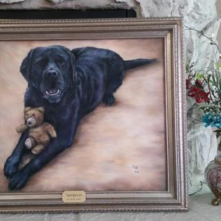My customer chose this beautiful frame for this portrait of Sampson that I painted for him. Patti