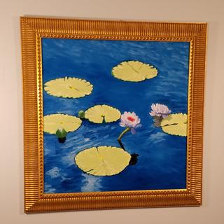 Tranquil lilies - oil on panel with ArtResin coating.
