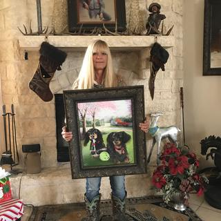 "The midnight gold frame was perfect choice for commissioned painting ""Peanut and Barkley"""