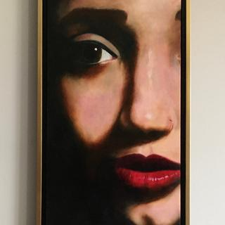 Marissa  12 x 24 oil on canvas in her floater frame