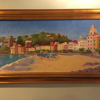 Commissioned painting of the seaside village of San Terenzo on the Italian Riviera.
