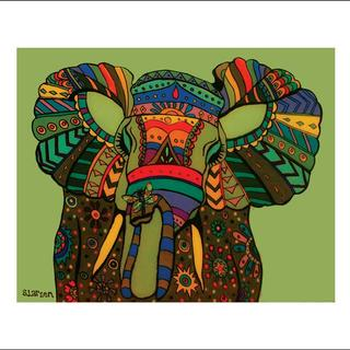 """Elephant With Dragonfly"" print, by Vermont Artist Stephanie Larsen"