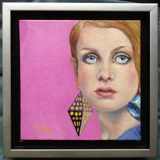 "6"" x 6"" oil painting.  I love the way the frame adds to the mod look of 60's fashion icon, Twiggy!"