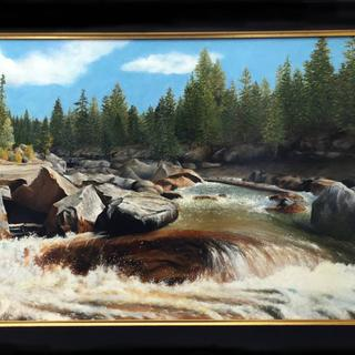 Commissioned 24 x 48 oil on canvas, with frame.