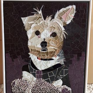 Fluffy dog in hard glass!