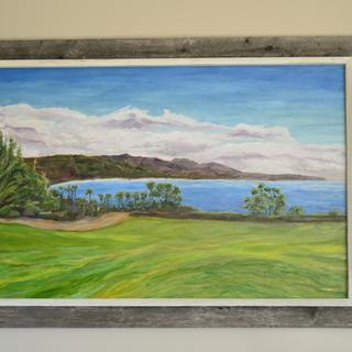 """Dana Point South to Cottons Point"" - oil on canvas in driftwood gray w/ Whitewash liner frame"
