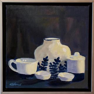 """""""White on Blue"""" oil 12x12"""