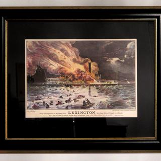 "Reproduction of a famous Currier & Ives illustration of the 1840 ""Lexington"" steamship disaster."